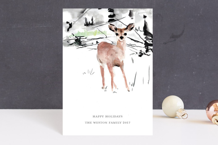 """""""Painted Deer"""" - Holiday Petite Cards in Fawn by Jenny Partrite."""