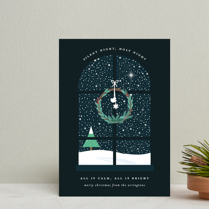 """""""Wintery Silent Night"""" - Holiday Petite Cards in Midnight by Bonjour Berry."""