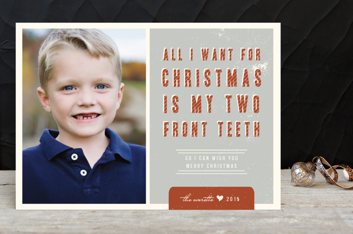 """Two Front Teeth"" - Holiday Petite Cards in Rust by Lehan Veenker."