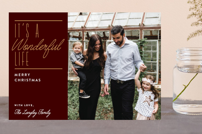 """""""Wonderful Christmas"""" - Holiday Petite Cards in Maroon by Jennifer Lew."""