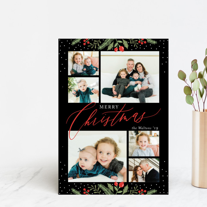 """""""Christmas Sprigs"""" - Holiday Petite Cards in Jet by Coco and Ellie Design."""