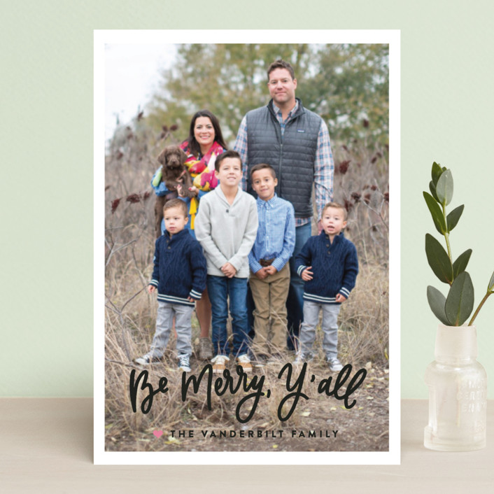 """""""Be Merry, Y'all"""" - Holiday Petite Cards in Rosy Cheeks by Up Up Creative."""