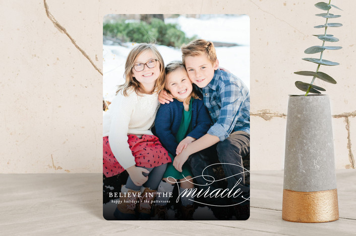 """Believe In The Miracle"" - Holiday Petite Cards in White by Lehan Veenker."