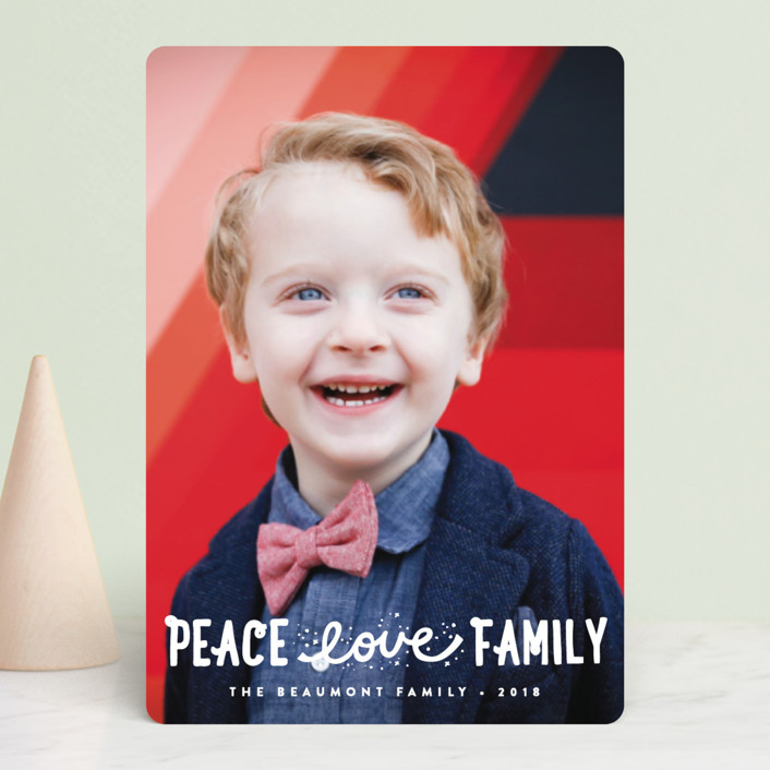 """Faith, Love, Family"" - Bohemian Holiday Petite Cards in Snow by Erica Krystek."