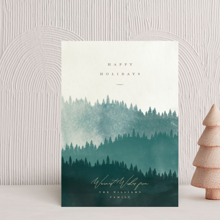 """Wooded Hills"" - Bohemian Holiday Petite Cards in Forest by Robert and Stella."