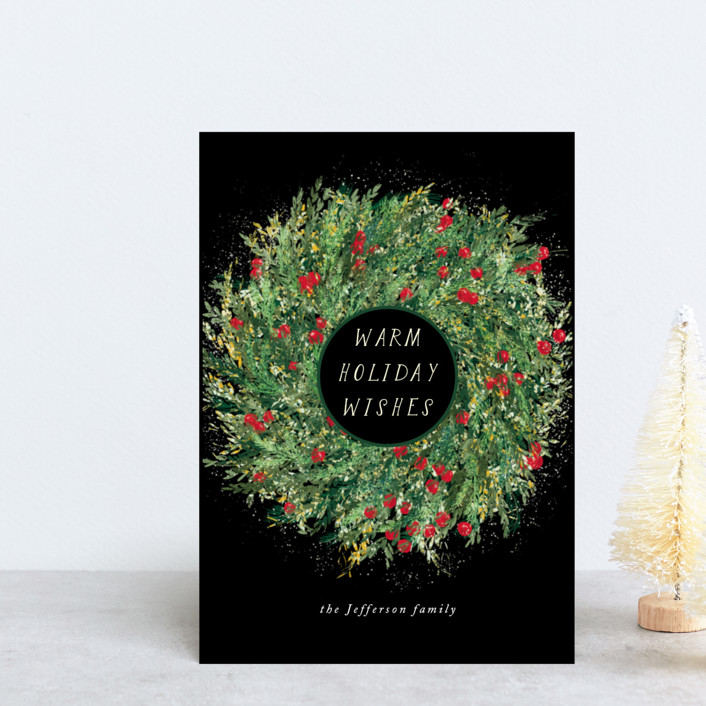 """painted holiday wreath"" - Holiday Petite Cards in Forest by Alexandra Dzh."