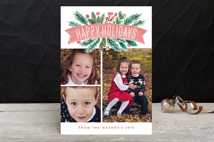 """Painted Banner"" - Holiday Petite Cards in Coral by Alethea and Ruth."