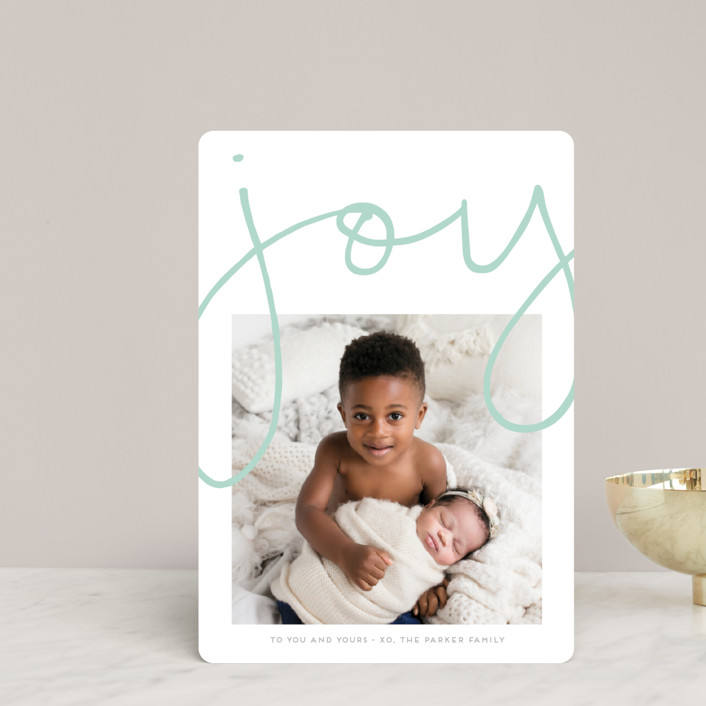 """""""More Joy"""" - Modern Holiday Petite Cards in Robin's Egg by Kaydi Bishop."""