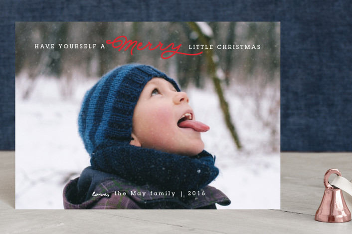 """""""Have Yourself A Merry Little Christmas"""" - Full-Bleed Photo Holiday Petite Cards in Cranberry by Itsy Belle Studio."""