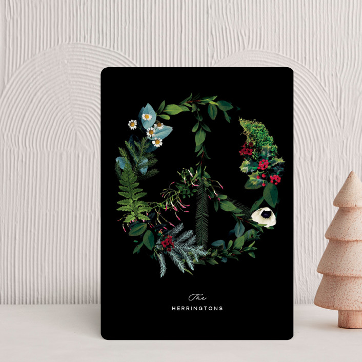 """Floral Peace"" - Holiday Petite Cards in Onyx by Baumbirdy."