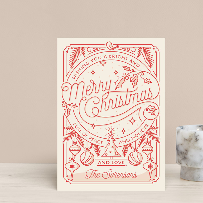 """Merry Little Lines"" - Vintage Holiday Petite Cards in Santa Claus by GeekInk Design."