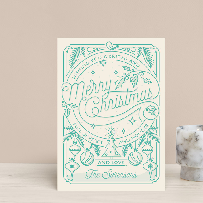 """Merry Little Lines"" - Vintage Holiday Petite Cards in Wintergreen by GeekInk Design."