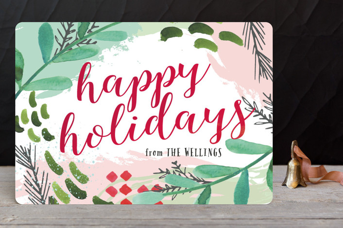 """""""Have Yourself a Very Funky Christmas"""" - Abstract Holiday Petite Cards in Cranberry by Makewells."""