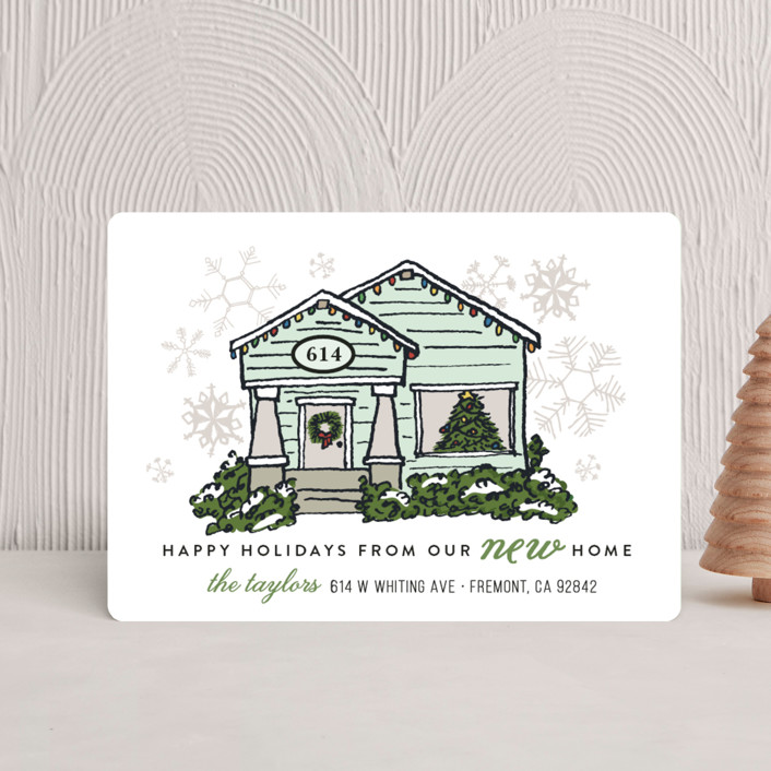 """Christmas Lights New Home"" - Holiday Petite Cards in Mist by Shiny Penny Studio."