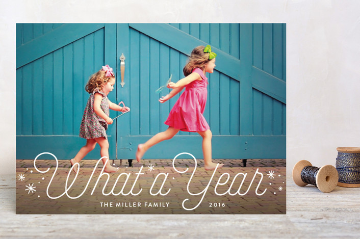 """""""What a Year"""" - Holiday Petite Cards in Snow by Erin Deegan."""