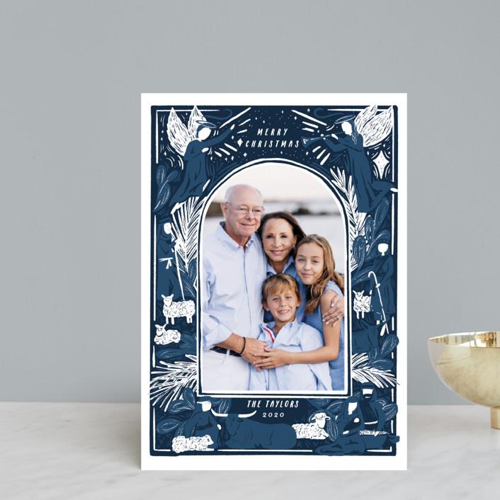 """Woodblock Nativity Frame"" - Bohemian Holiday Petite Cards in Navy by Shiny Penny Studio."