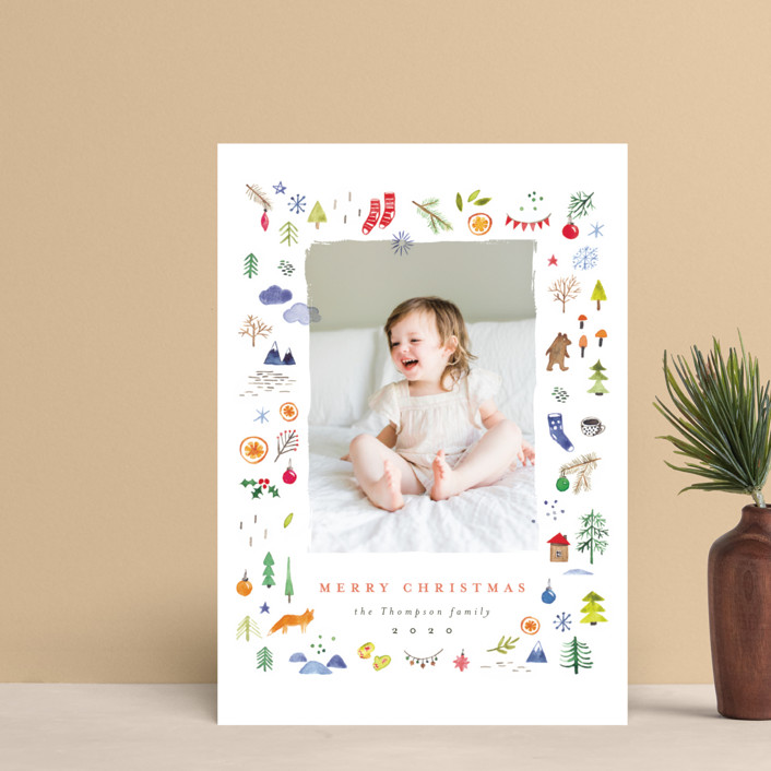 """merry little things"" - Bohemian Holiday Petite Cards in Snow by Anastasia Makarova."
