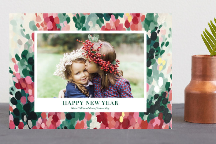 """Hollyhocks"" - Bohemian Holiday Petite Cards in Evergreen by Iron Range Artery."