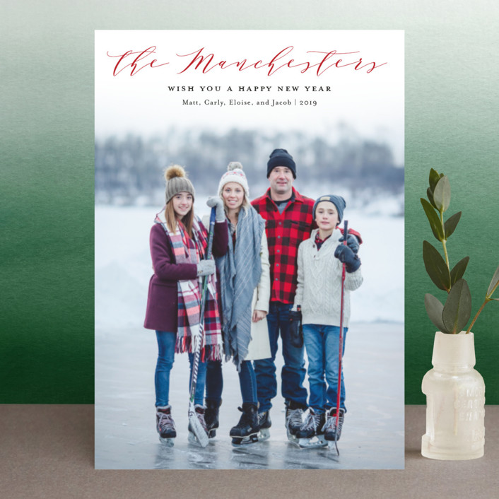 """""""Modern Name"""" - Holiday Petite Cards in Cranberry by Sarah Guse Brown."""