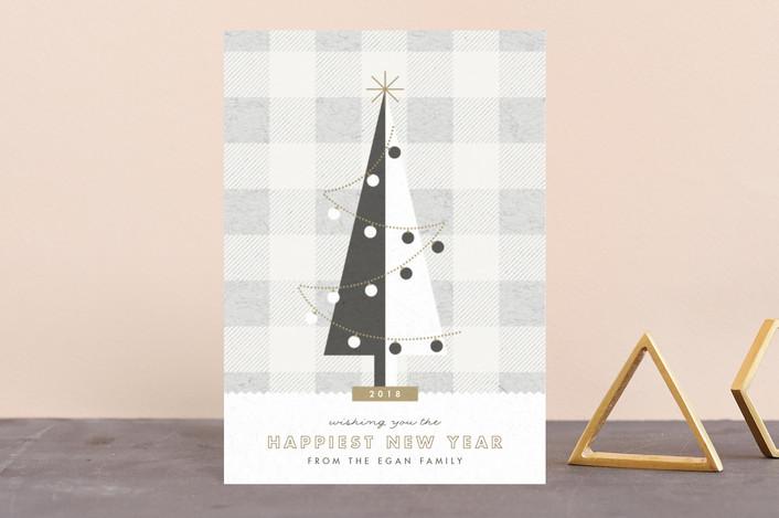 """gingham tree"" - Holiday Petite Cards in Wool by Carolyn Nicks."