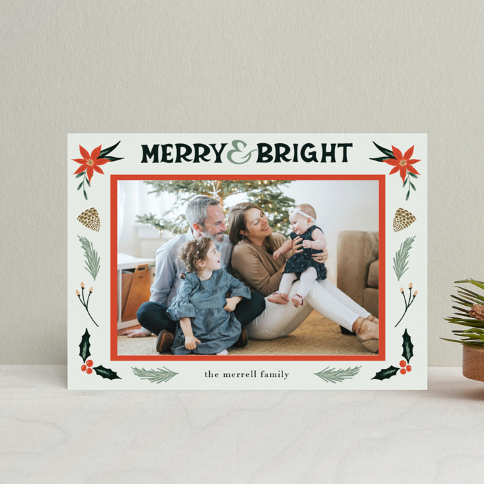 """""""Merry, Bright"""" - Vintage Holiday Petite Cards in Fog by Amanda Houston."""