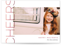 This is a red petite holiday card by Pixel and Hank called Merry Stacked with standard printing on smooth signature in petite.