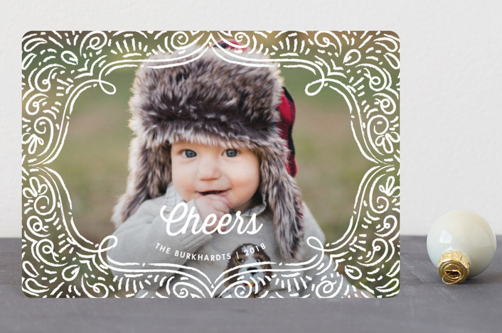 """Drawn Frame"" - Vintage Holiday Petite Cards in Snow White by Snow and Ivy."