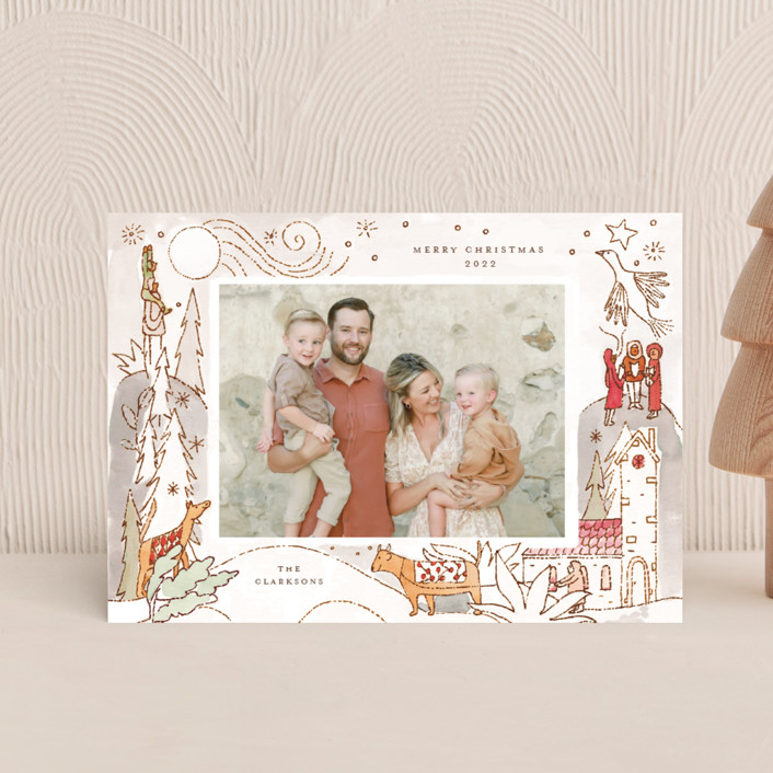 """Cheerful Season"" - Bohemian Holiday Petite Cards in Seafoam by Morgan Ramberg."