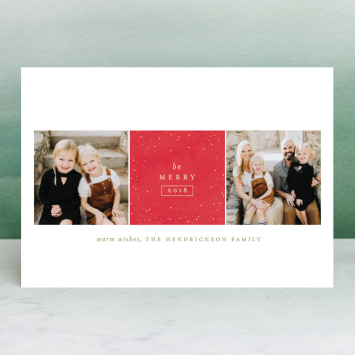 """Sparkling Be Merry"" - Holiday Petite Cards in Denim by Carolyn Nicks."