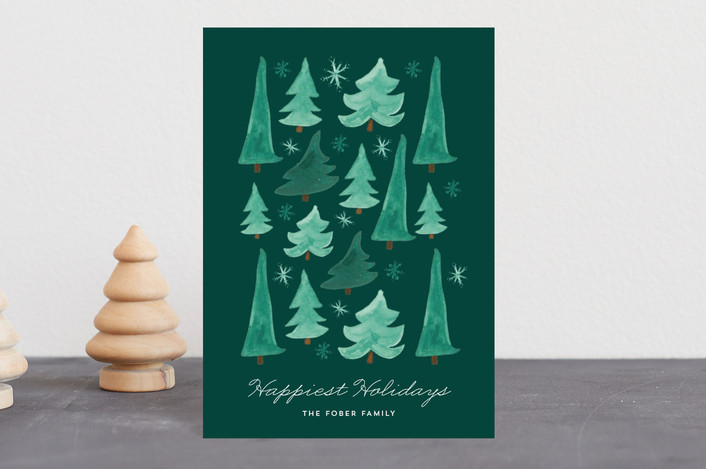 """Watercolor Stack"" - Holiday Petite Cards in Forest by Erika Firm."
