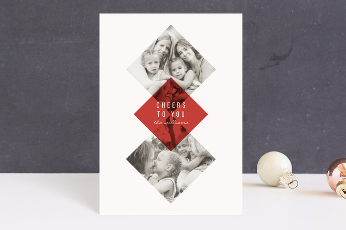 """""""Modern Argyle"""" - Holiday Petite Cards in Cranberry by The Carillos."""