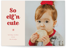 This is a red petite holiday card by Corinne Malesic called Elfn Cute with standard printing on smooth signature in petite.