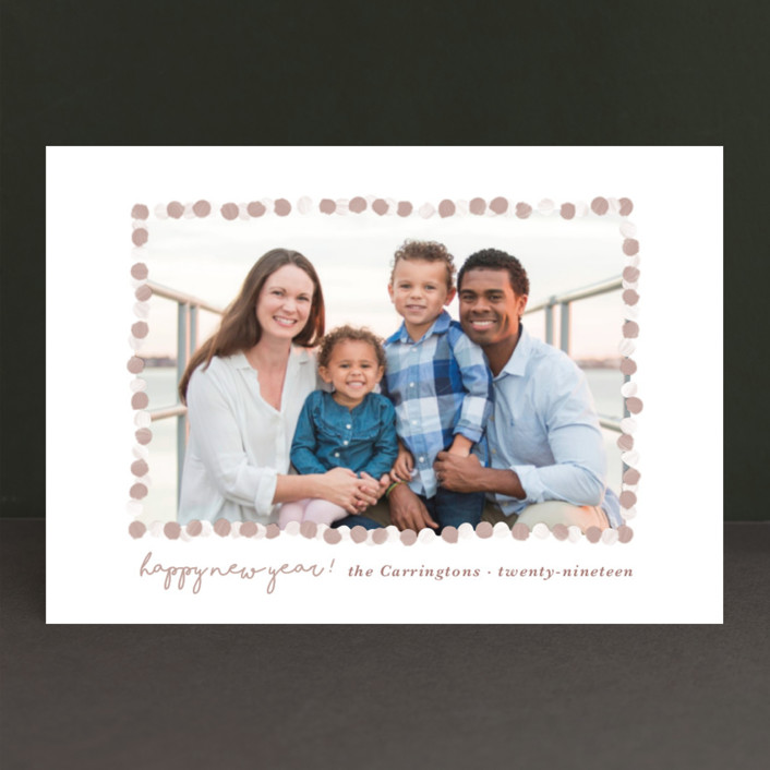 """""""New Year Garland"""" - Holiday Petite Cards in Taupe by Gwen Bedat."""
