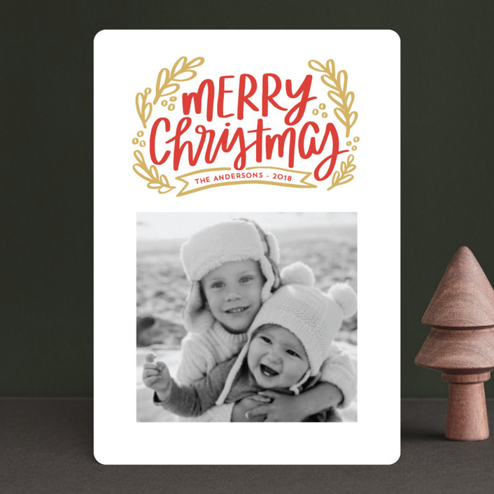 """Merry Little Branches"" - Holiday Petite Cards in Crimson by Little Print Design."
