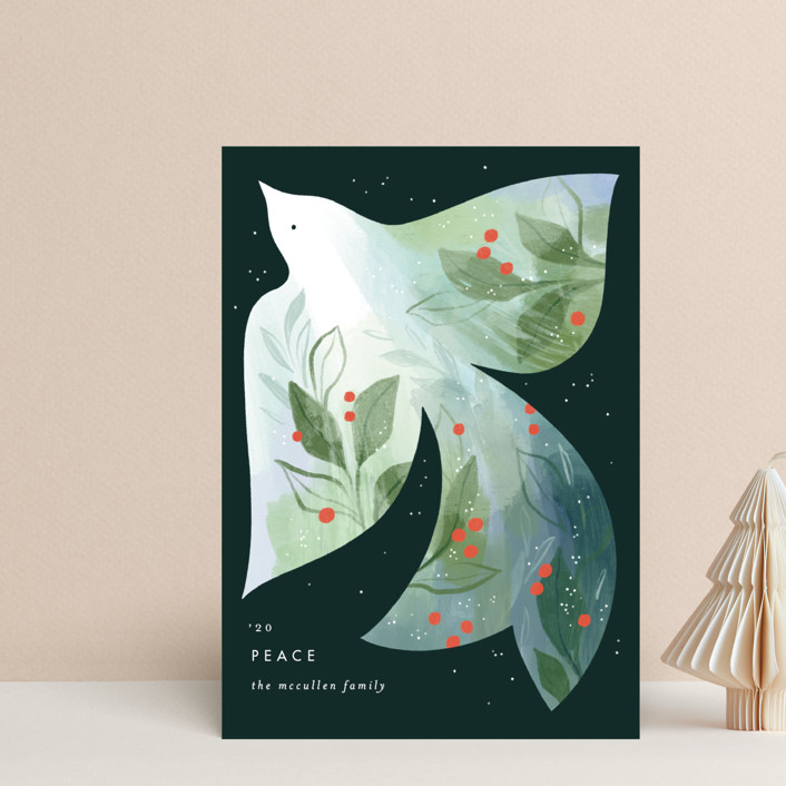 """Alight"" - Bohemian Holiday Petite Cards in Forest by Paper Raven Co.."