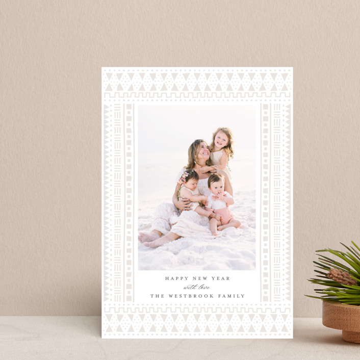 """""""mud cloth holiday"""" - Bohemian Holiday Petite Cards in Taupe by Erin Deegan."""