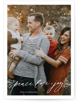 This is a white petite holiday card by Palm Bridal called Peace, Love & Joy with standard printing on smooth signature in petite.