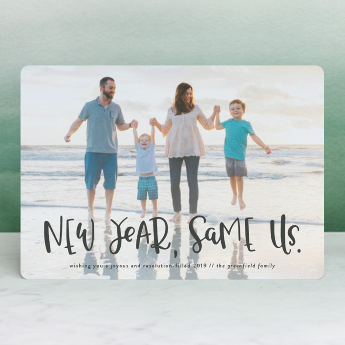 """""""New Year, Same Us"""" - Funny Holiday Petite Cards in Frost by Olivia Goree."""