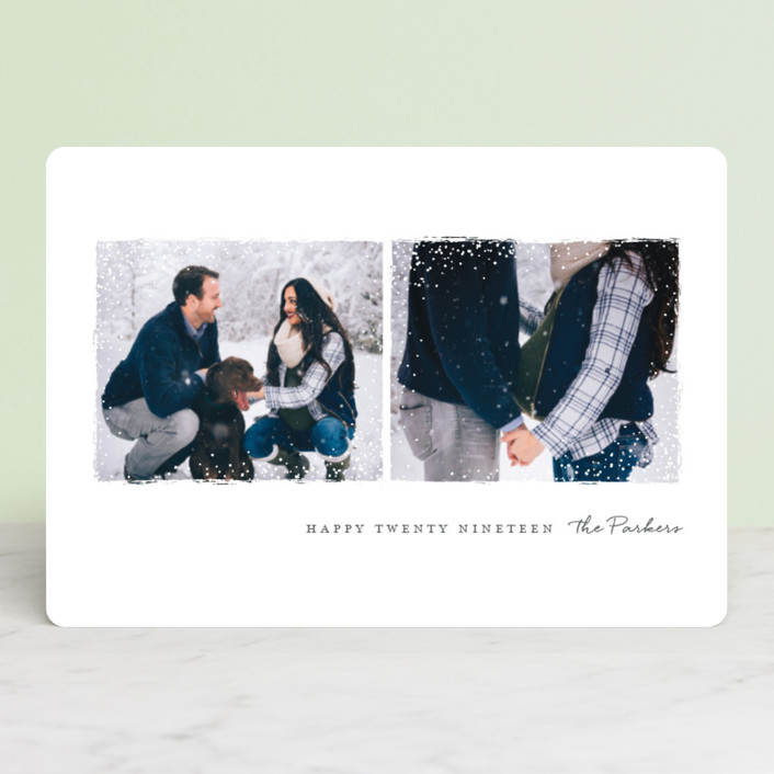"""Snowy Frames"" - Holiday Petite Cards in Slate by Jessica Maslyn."