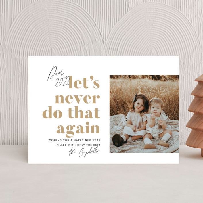 """""""Never Again"""" - Funny Holiday Petite Cards in Snowflake by Robert and Stella."""