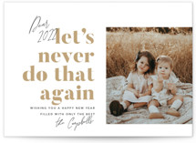 This is a white petite holiday card by Robert and Stella called Never Again with standard printing on smooth signature in petite.
