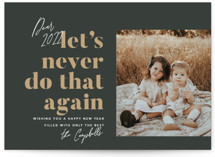 This is a black petite holiday card by Robert and Stella called Never Again with standard printing on smooth signature in petite.