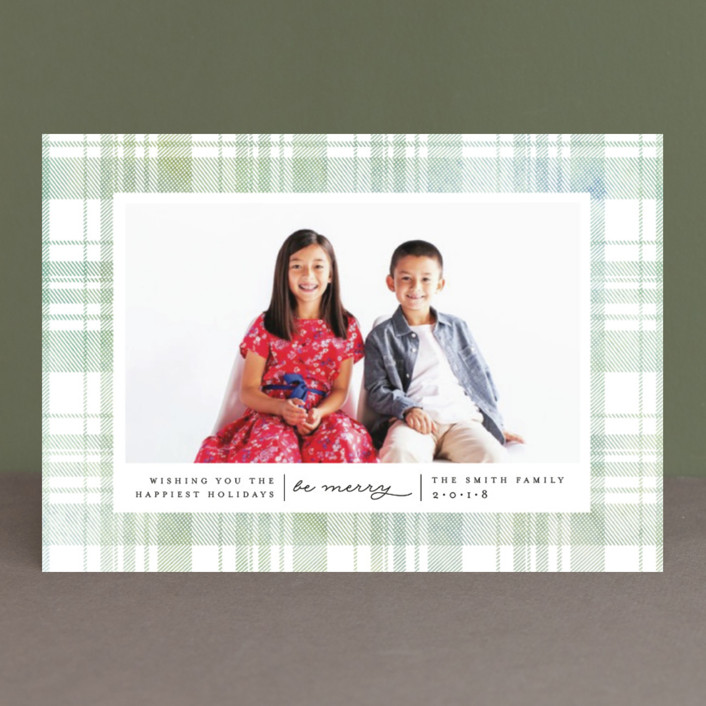 """Festive Plaid"" - Holiday Petite Cards in Evergreen by Carolyn Nicks."