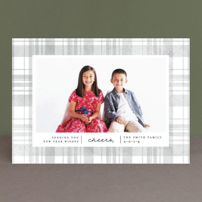 """Festive Plaid"" - Holiday Petite Cards in Smoke by Carolyn Nicks."