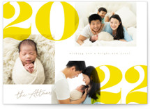 This is a yellow petite holiday card by Creo Study called Bold and Bright with standard printing on smooth signature in petite.