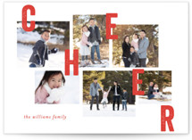 This is a red petite holiday card by Bethan called Collaged Merry with standard printing on smooth signature in petite.
