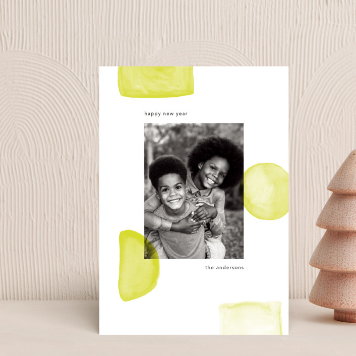 """""""Neon New Year"""" - Modern Holiday Petite Cards in Lime by Caitlin Considine."""