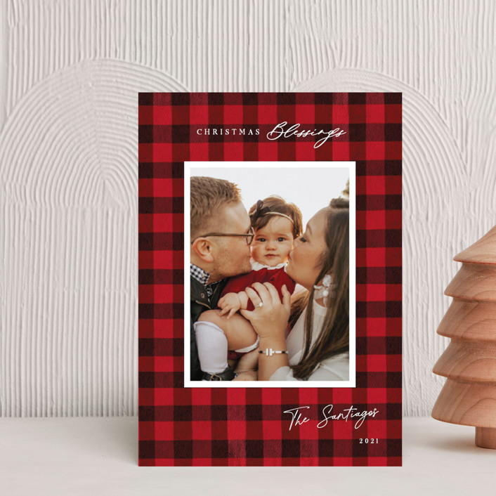 """Winter Plaid"" - Vintage Holiday Petite Cards in Cherry by Elly."