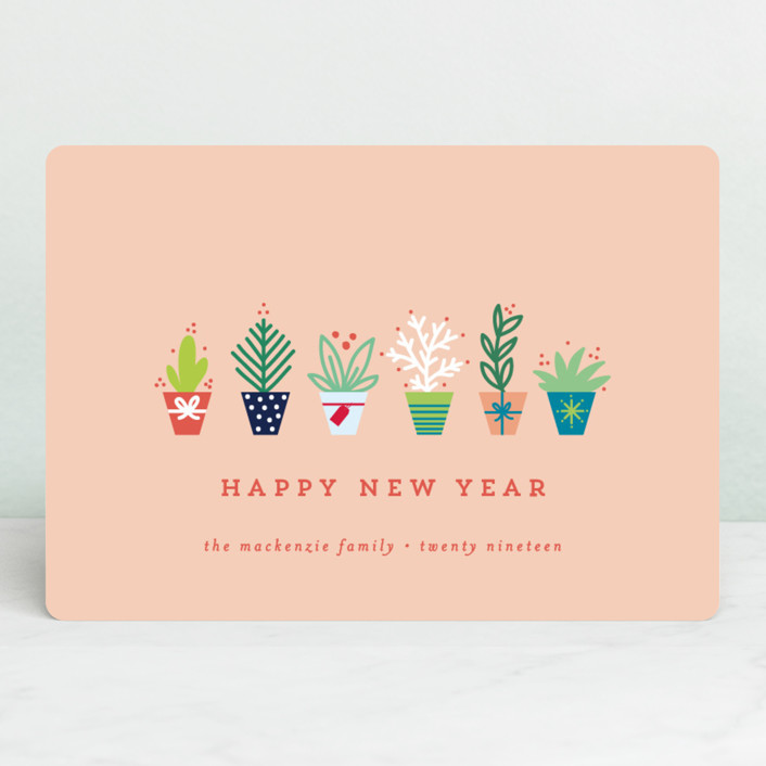 """""""succulents"""" - Holiday Petite Cards in Coral by Bethan."""
