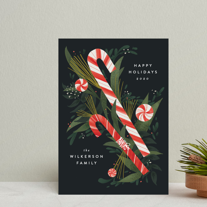 """""""Peppermint Bouquet"""" - Holiday Petite Cards in Night by Heather Francisco."""